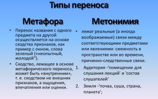 Чем отличается метафора от метонимии